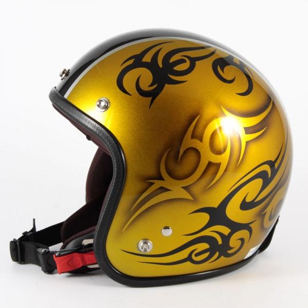 ジャムテックジャパン 72JAM JCP-26TRIBAL トライバル ゴールド/ブラックライン ジェットヘルメット [キャンディーゴールドベースグロス仕上げ]FREEサイズ(57-60cm未満) メンズ レディース 兼用品 SG規格 全排気量対応