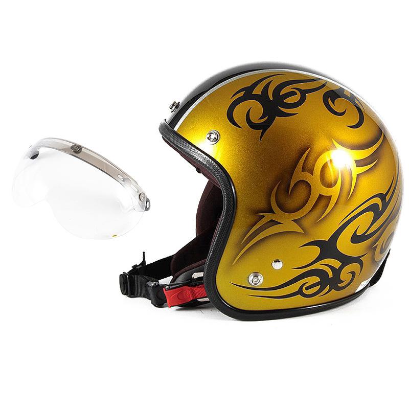 72JAM デザイナーズジェットヘルメット [JCP-26] 開閉シールド付き [APS-01]TRIBAL トライバル ゴールド/ブラックライン [キャンディーゴールドベースグロス仕上げ]FREEサイズ(57-60cm未満) メンズ レディース 兼用品 SG規格 全排気量対応