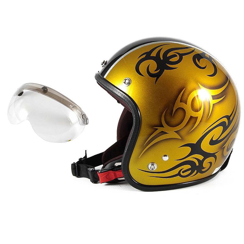 72JAM デザイナーズジェットヘルメット [JCP-26] 開閉シールド付き [APS-03]TRIBAL トライバル ゴールド/ブラックライン [キャンディーゴールドベースグロス仕上げ]FREEサイズ(57-60cm未満) メンズ レディース 兼用品 SG規格 全排気量対応