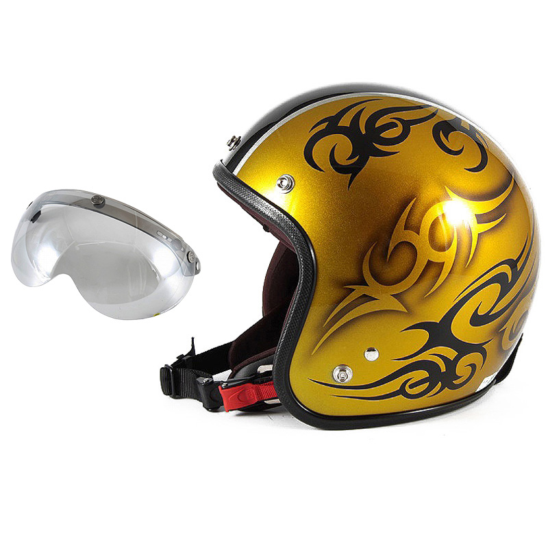 72JAM デザイナーズジェットヘルメット [JCP-26] 開閉シールド付き [APS-04]TRIBAL トライバル ゴールド/ブラックライン [キャンディーゴールドベースグロス仕上げ]FREEサイズ(57-60cm未満) メンズ レディース 兼用品 SG規格 全排気量対応