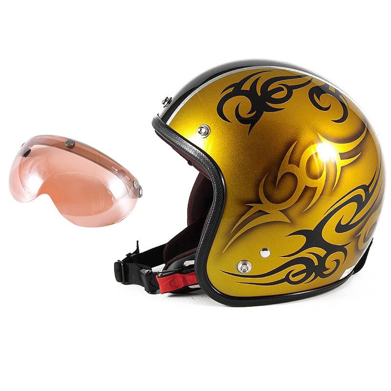 72JAM デザイナーズジェットヘルメット [JCP-26] 開閉シールド付き [APS-05]TRIBAL トライバル ゴールド/ブラックライン [キャンディーゴールドベースグロス仕上げ]FREEサイズ(57-60cm未満) メンズ レディース 兼用品 SG規格 全排気量対応