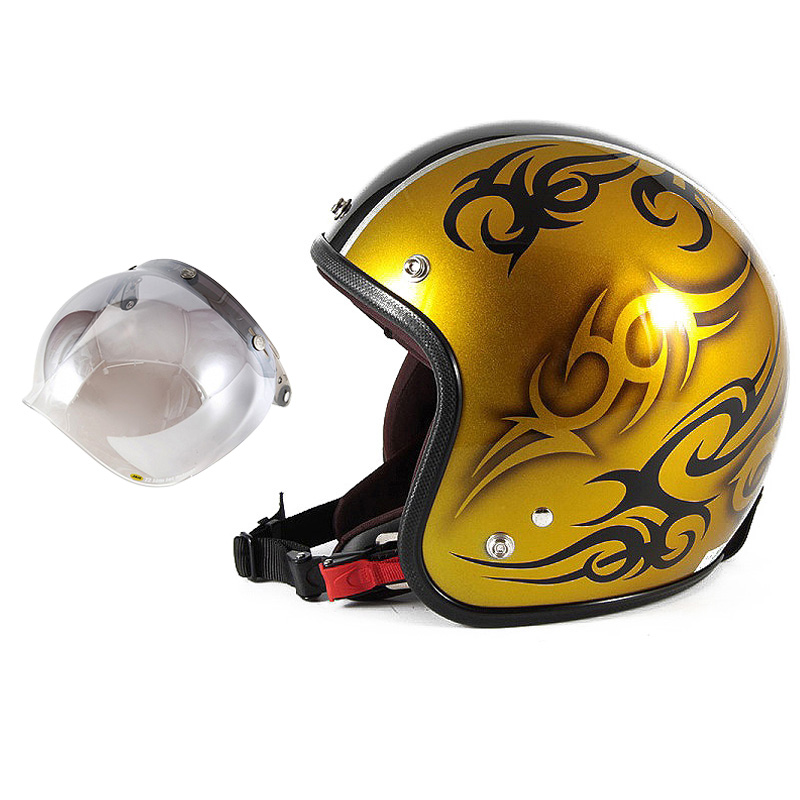 72JAM デザイナーズジェットヘルメット [JCP-26] 開閉シールド付き [JCBN-03]TRIBAL トライバル ゴールド/ブラックライン [キャンディーゴールドベースグロス仕上げ]FREEサイズ(57-60cm未満) メンズ レディース 兼用品 SG規格 全排気量対応