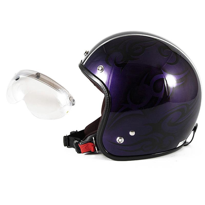72JAM デザイナーズジェットヘルメット [JCP-27] 開閉シールド付き [APS-02]TRIBAL トライバル パープル/ブラックライン [キャンディーパープルベースグロス仕上げ]FREEサイズ(57-60cm未満) メンズ レディース 兼用品 SG規格 全排気量対応
