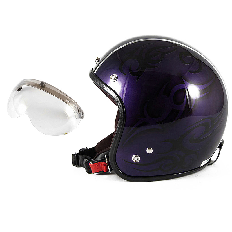 72JAM デザイナーズジェットヘルメット [JCP-27] 開閉シールド付き [APS-03]TRIBAL トライバル パープル/ブラックライン [キャンディーパープルベースグロス仕上げ]FREEサイズ(57-60cm未満) メンズ レディース 兼用品 SG規格 全排気量対応