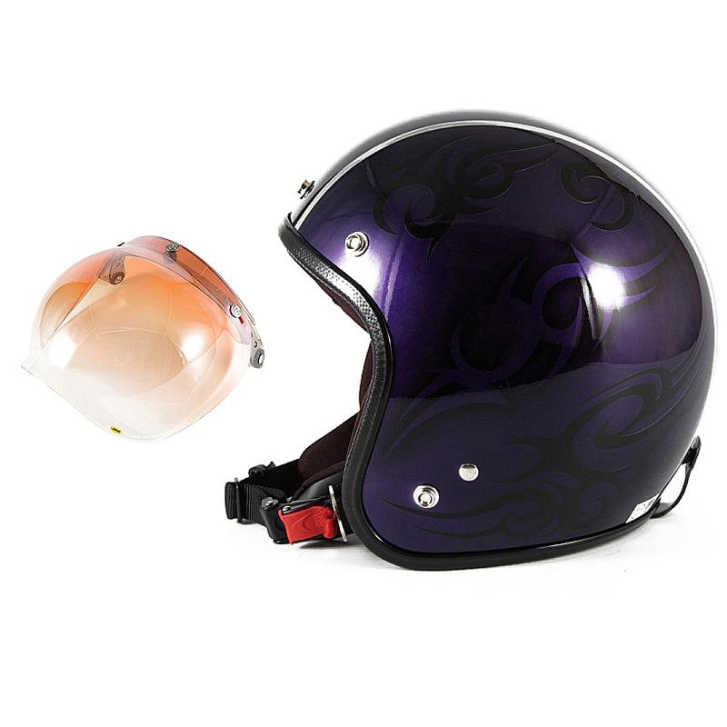 72JAM デザイナーズジェットヘルメット [JCP-27] 開閉シールド付き [JCBN-04]TRIBAL トライバル パープル/ブラックライン [キャンディーパープルベースグロス仕上げ]FREEサイズ(57-60cm未満) メンズ レディース 兼用品 SG規格 全排気量対応