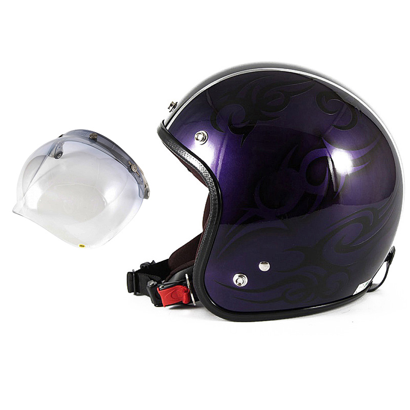 72JAM デザイナーズジェットヘルメット [JCP-27] 開閉シールド付き [JCBN-05]TRIBAL トライバル パープル/ブラックライン [キャンディーパープルベースグロス仕上げ]FREEサイズ(57-60cm未満) メンズ レディース 兼用品 SG規格 全排気量対応