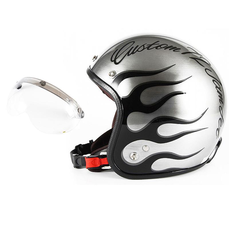 72JAM デザイナーズジェットヘルメット [JCP-28] 開閉シールド付き [APS-01]IRON FLAME アイアンフレイム シルバー [エフェクトシルバーベースグロス仕上げ]FREEサイズ(57-60cm未満) メンズ レディース 兼用品 SG規格 全排気量対応