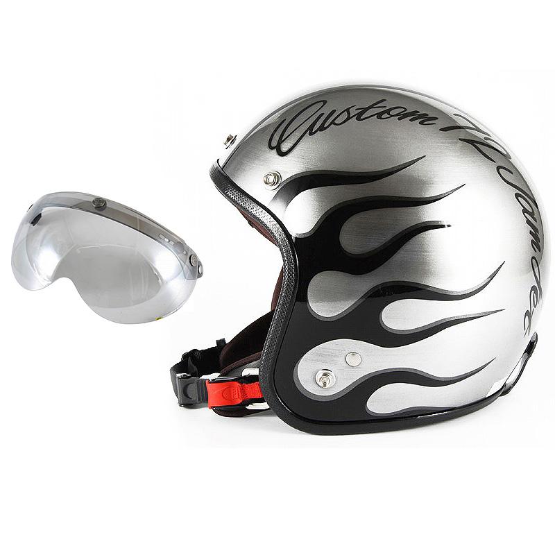 72JAM デザイナーズジェットヘルメット [JCP-28] 開閉シールド付き [APS-04]IRON FLAME アイアンフレイム シルバー [エフェクトシルバーベースグロス仕上げ]FREEサイズ(57-60cm未満) メンズ レディース 兼用品 SG規格 全排気量対応