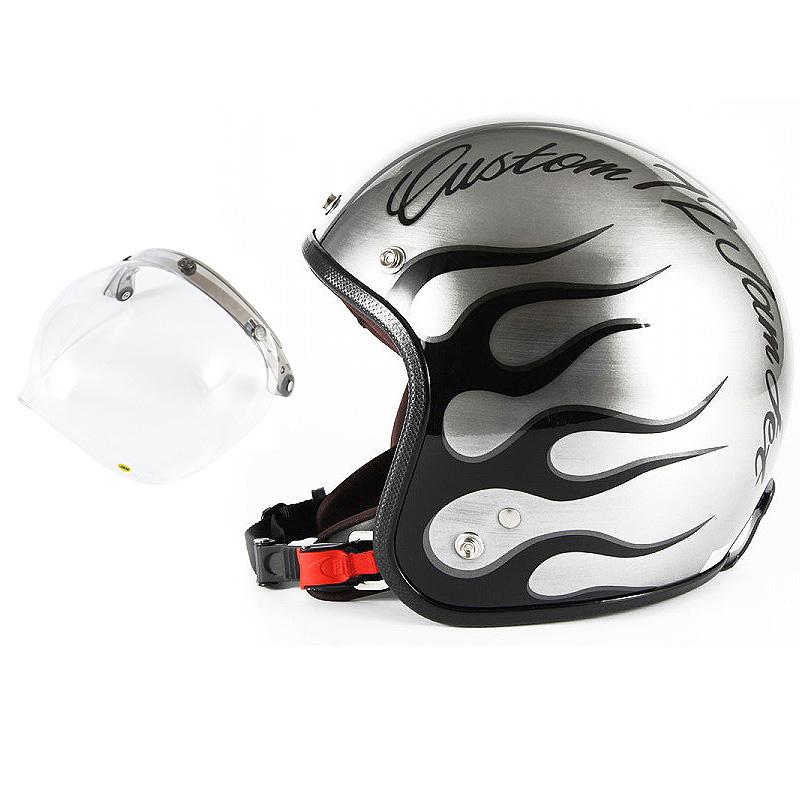 72JAM デザイナーズジェットヘルメット [JCP-28] 開閉シールド付き [JCBN-01]IRON FLAME アイアンフレイム シルバー [エフェクトシルバーベースグロス仕上げ]FREEサイズ(57-60cm未満) メンズ レディース 兼用品 SG規格 全排気量対応