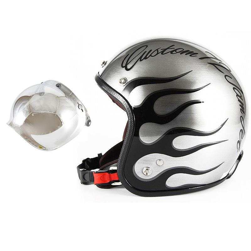 72JAM デザイナーズジェットヘルメット [JCP-28] 開閉シールド付き [JCBN-02]IRON FLAME アイアンフレイム シルバー [エフェクトシルバーベースグロス仕上げ]FREEサイズ(57-60cm未満) メンズ レディース 兼用品 SG規格 全排気量対応