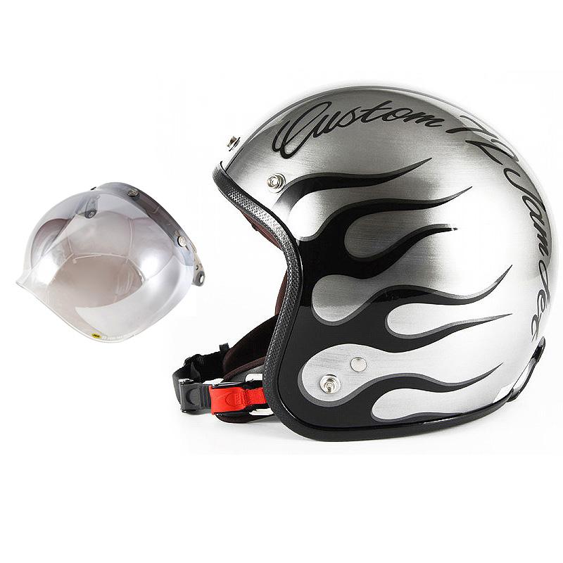 72JAM デザイナーズジェットヘルメット [JCP-28] 開閉シールド付き [JCBN-03]IRON FLAME アイアンフレイム シルバー [エフェクトシルバーベースグロス仕上げ]FREEサイズ(57-60cm未満) メンズ レディース 兼用品 SG規格 全排気量対応