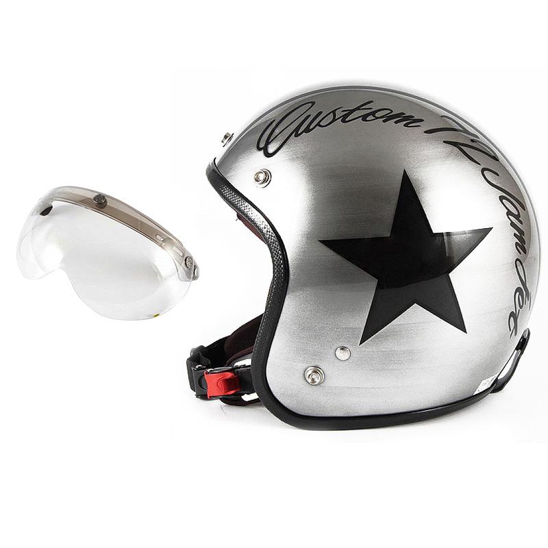 72JAM デザイナーズジェットヘルメット [JCP-30] 開閉シールド付き [APS-03]IRON STAR アイアンスター シルバー [エフェクトシルバーベースグロス仕上げ]FREEサイズ(57-60cm未満) メンズ レディース 兼用品 SG規格 全排気量対応