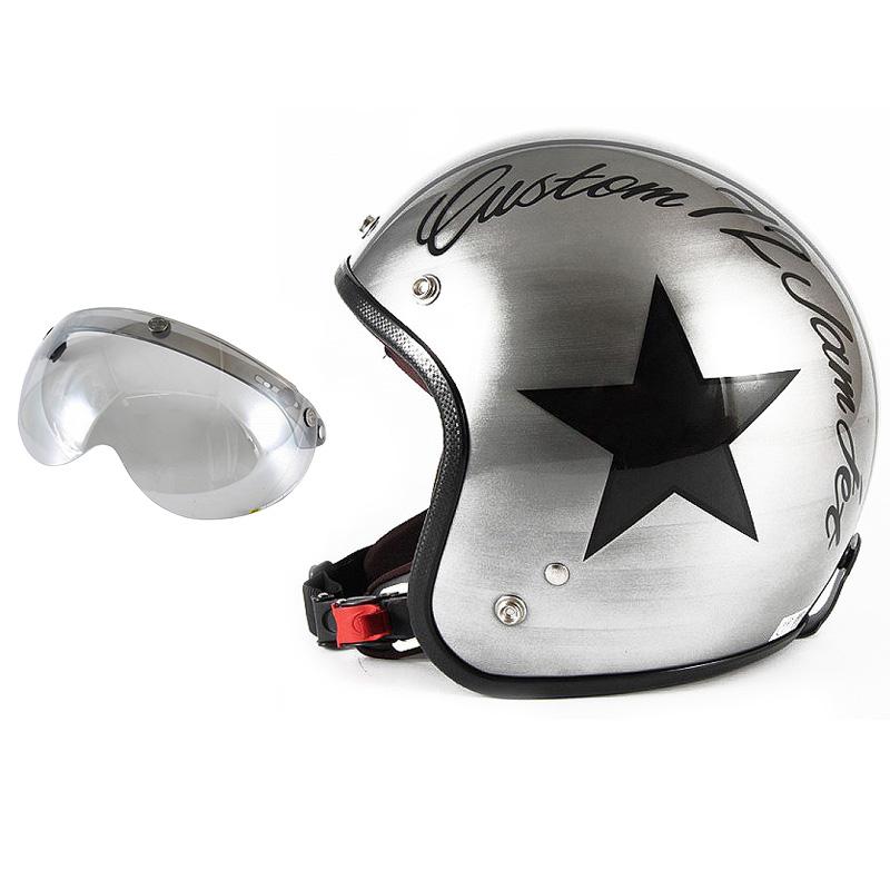 72JAM デザイナーズジェットヘルメット [JCP-30] 開閉シールド付き [APS-04]IRON STAR アイアンスター シルバー [エフェクトシルバーベースグロス仕上げ]FREEサイズ(57-60cm未満) メンズ レディース 兼用品 SG規格 全排気量対応