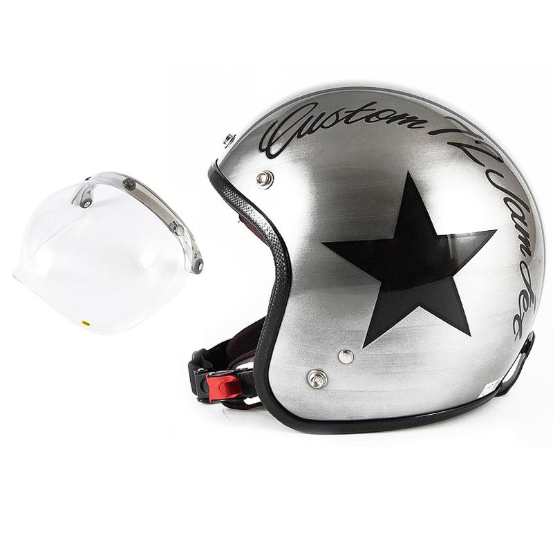 72JAM デザイナーズジェットヘルメット [JCP-30] 開閉シールド付き [JCBN-01]IRON STAR アイアンスター シルバー [エフェクトシルバーベースグロス仕上げ]FREEサイズ(57-60cm未満) メンズ レディース 兼用品 SG規格 全排気量対応