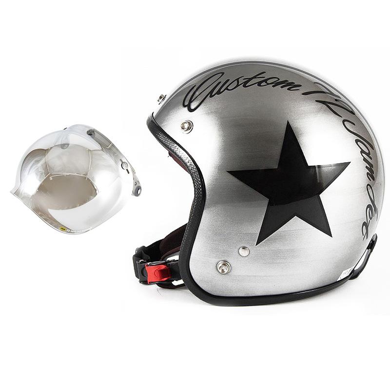 72JAM デザイナーズジェットヘルメット [JCP-30] 開閉シールド付き [JCBN-02]IRON STAR アイアンスター シルバー [エフェクトシルバーベースグロス仕上げ]FREEサイズ(57-60cm未満) メンズ レディース 兼用品 SG規格 全排気量対応