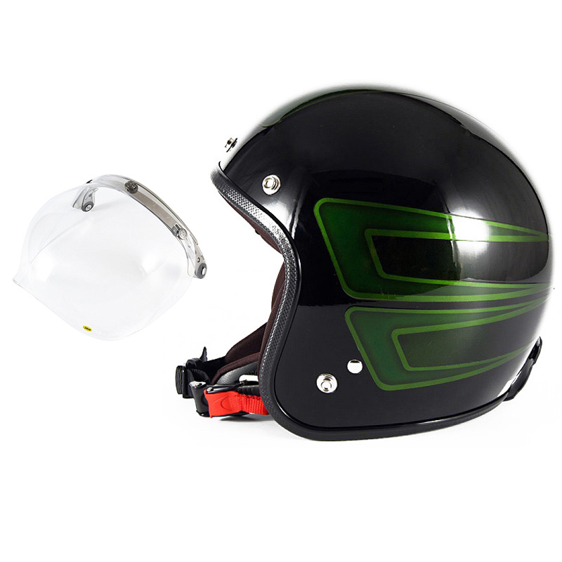 72JAM デザイナーズジェットヘルメット [JCP-31] 開閉シールド付き [JCBN-01]SCALLOP スキャロップ グリーン [ブラックベースグロス仕上げ]FREEサイズ(57-60cm未満) メンズ レディース 兼用品 SG規格 全排気量対応