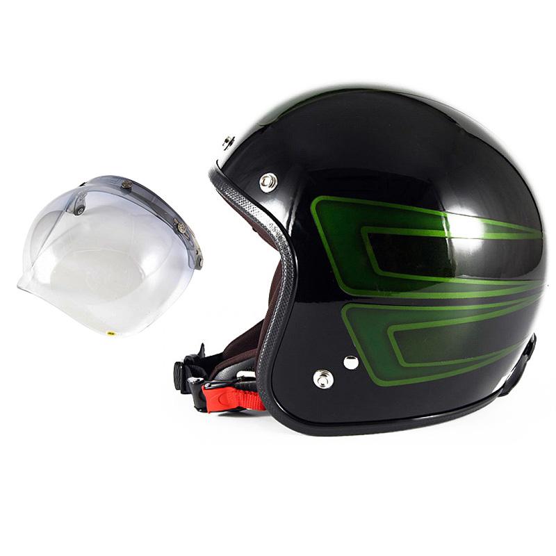 72JAM デザイナーズジェットヘルメット [JCP-31] 開閉シールド付き [JCBN-05]SCALLOP スキャロップ グリーン [ブラックベースグロス仕上げ]FREEサイズ(57-60cm未満) メンズ レディース 兼用品 SG規格 全排気量対応