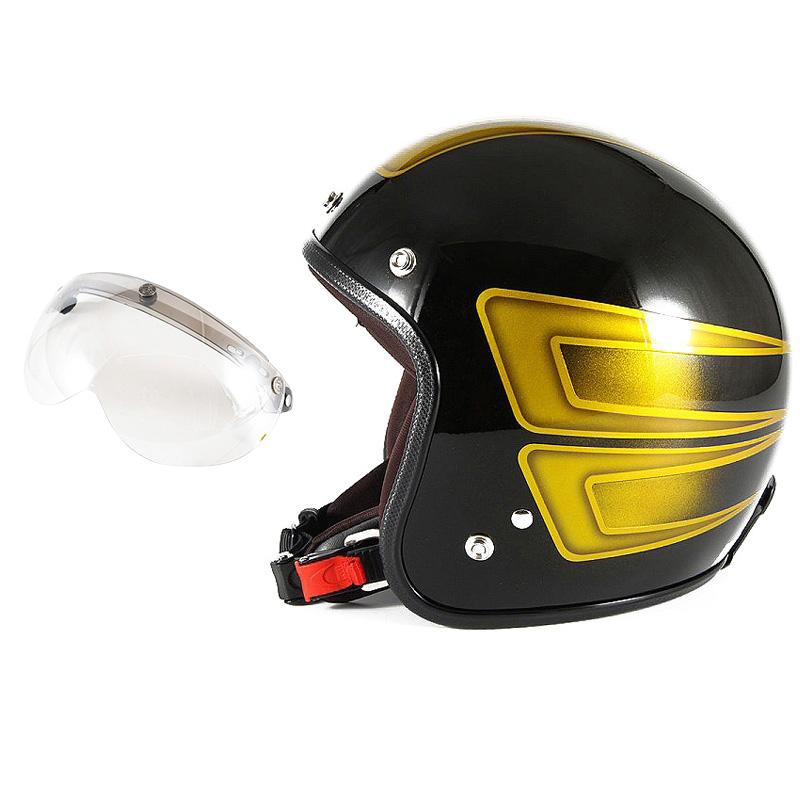72JAM デザイナーズジェットヘルメット [JCP-32] 開閉シールド付き [APS-02]SCALLOP スキャロップ イエロー [ブラックベースグロス仕上げ]FREEサイズ(57-60cm未満) メンズ レディース 兼用品 SG規格 全排気量対応