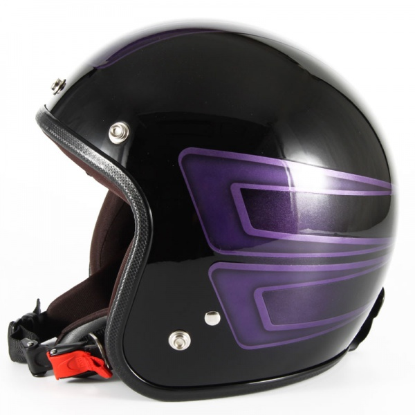 ジャムテックジャパン 72JAM JCP-33SCALLOP スキャロップ パープル ジェットヘルメット [ブラックベースグロス仕上げ]FREEサイズ(57-60cm未満) メンズ レディース 兼用品 SG規格 全排気量対応