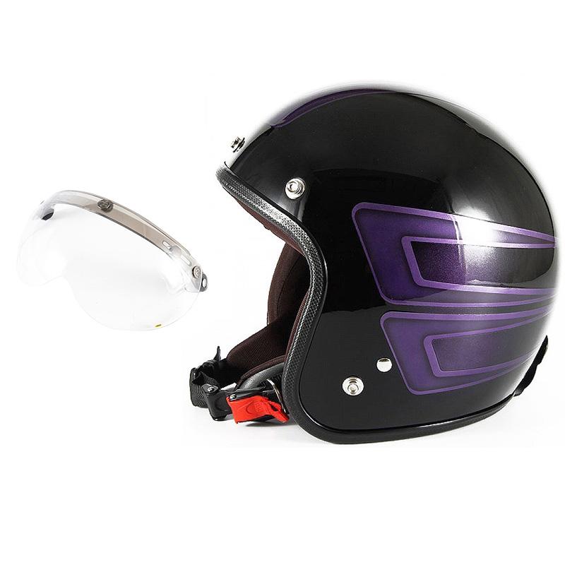 72JAM デザイナーズジェットヘルメット [JCP-33] 開閉シールド付き [APS-01]SCALLOP スキャロップ パープル [ブラックベースグロス仕上げ]FREEサイズ(57-60cm未満) メンズ レディース 兼用品 SG規格 全排気量対応