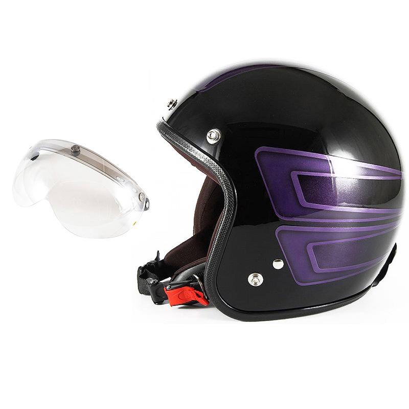 72JAM デザイナーズジェットヘルメット [JCP-33] 開閉シールド付き [APS-02]SCALLOP スキャロップ パープル [ブラックベースグロス仕上げ]FREEサイズ(57-60cm未満) メンズ レディース 兼用品 SG規格 全排気量対応