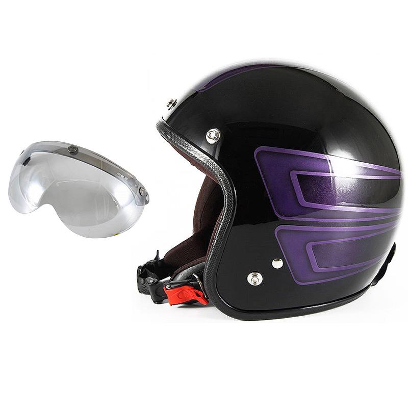 72JAM デザイナーズジェットヘルメット [JCP-33] 開閉シールド付き [APS-04]SCALLOP スキャロップ パープル [ブラックベースグロス仕上げ]FREEサイズ(57-60cm未満) メンズ レディース 兼用品 SG規格 全排気量対応
