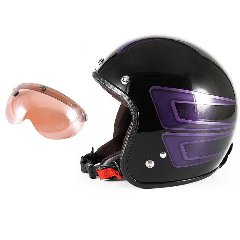 72JAM デザイナーズジェットヘルメット [JCP-33] 開閉シールド付き [APS-05]SCALLOP スキャロップ パープル [ブラックベースグロス仕上げ]FREEサイズ(57-60cm未満) メンズ レディース 兼用品 SG規格 全排気量対応