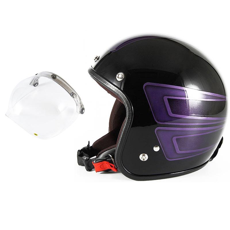 72JAM デザイナーズジェットヘルメット [JCP-33] 開閉シールド付き [JCBN-01]SCALLOP スキャロップ パープル [ブラックベースグロス仕上げ]FREEサイズ(57-60cm未満) メンズ レディース 兼用品 SG規格 全排気量対応