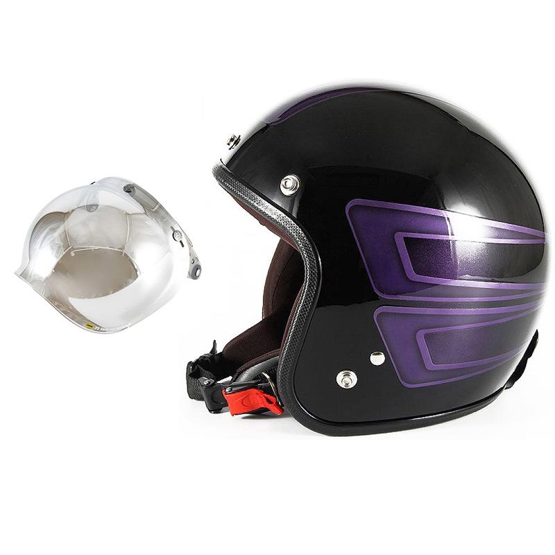 72JAM デザイナーズジェットヘルメット [JCP-33] 開閉シールド付き [JCBN-02]SCALLOP スキャロップ パープル [ブラックベースグロス仕上げ]FREEサイズ(57-60cm未満) メンズ レディース 兼用品 SG規格 全排気量対応