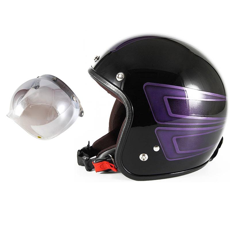 72JAM デザイナーズジェットヘルメット [JCP-33] 開閉シールド付き [JCBN-03]SCALLOP スキャロップ パープル [ブラックベースグロス仕上げ]FREEサイズ(57-60cm未満) メンズ レディース 兼用品 SG規格 全排気量対応