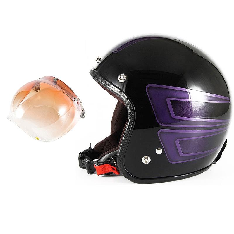 72JAM デザイナーズジェットヘルメット [JCP-33] 開閉シールド付き [JCBN-04]SCALLOP スキャロップ パープル [ブラックベースグロス仕上げ]FREEサイズ(57-60cm未満) メンズ レディース 兼用品 SG規格 全排気量対応