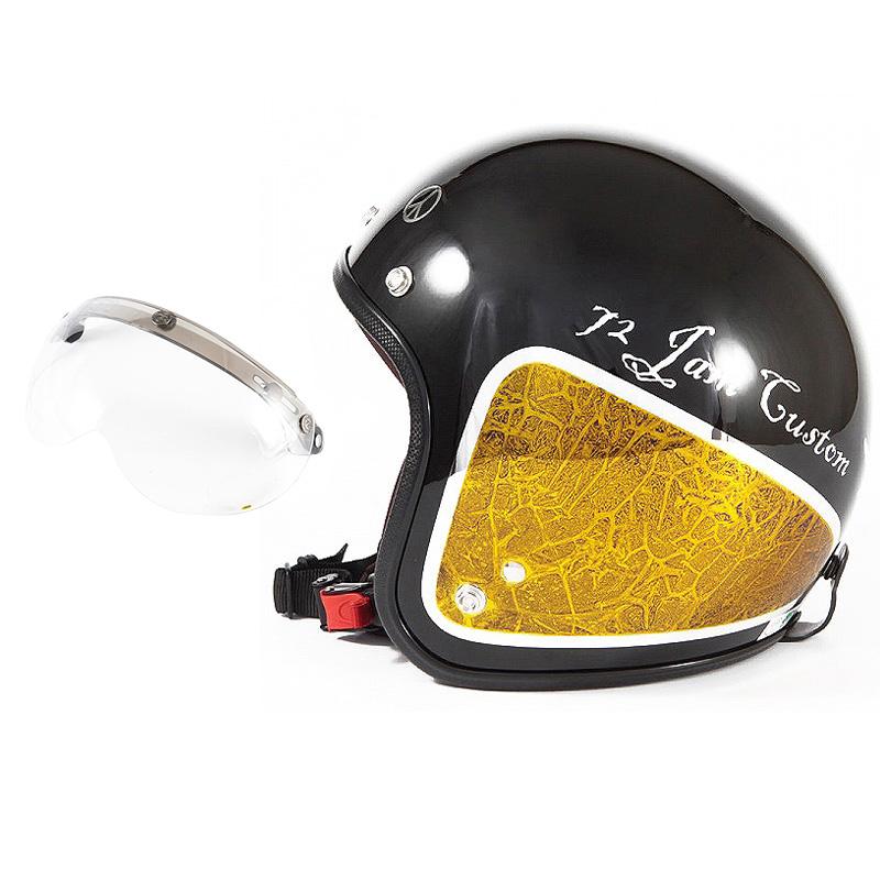 72JAM デザイナーズジェットヘルメット [JCP-34] 開閉シールド付き [APS-01]WEED ウィード イエロー [ブラックベース/イエローラップグロス仕上げ]FREEサイズ(57-60cm未満) メンズ レディース 兼用品 SG規格 全排気量対応
