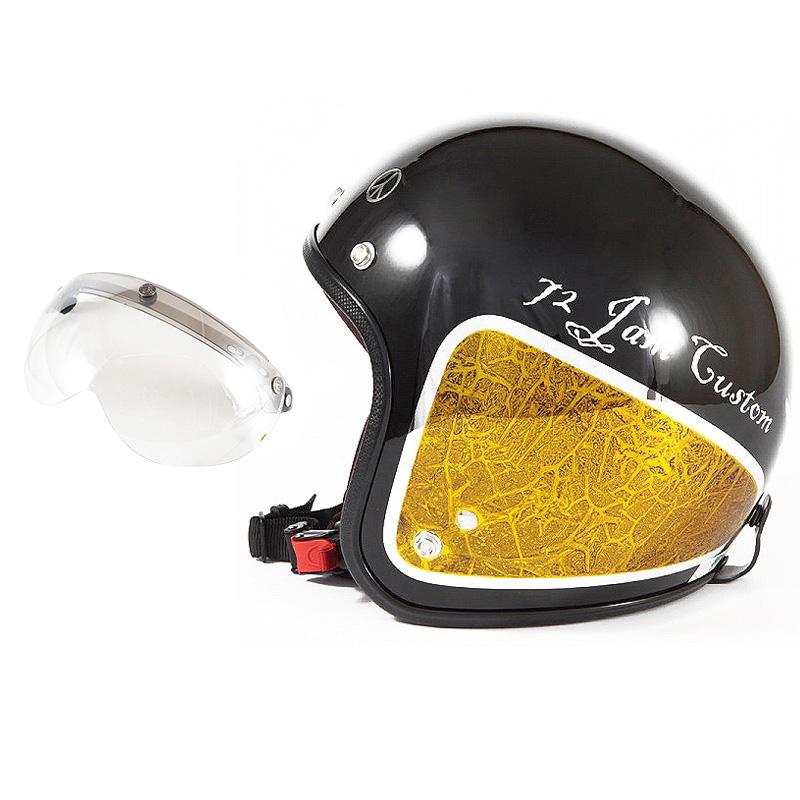72JAM デザイナーズジェットヘルメット [JCP-34] 開閉シールド付き [APS-02]WEED ウィード イエロー [ブラックベース/イエローラップグロス仕上げ]FREEサイズ(57-60cm未満) メンズ レディース 兼用品 SG規格 全排気量対応