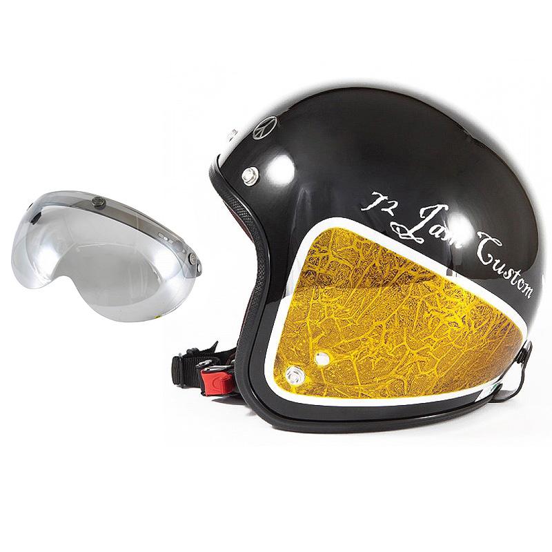 72JAM デザイナーズジェットヘルメット [JCP-34] 開閉シールド付き [APS-04]WEED ウィード イエロー [ブラックベース/イエローラップグロス仕上げ]FREEサイズ(57-60cm未満) メンズ レディース 兼用品 SG規格 全排気量対応