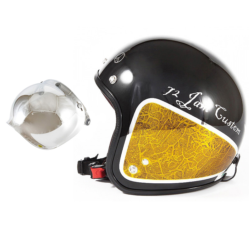 72JAM デザイナーズジェットヘルメット [JCP-34] 開閉シールド付き [JCBN-02]WEED ウィード イエロー [ブラックベース/イエローラップグロス仕上げ]FREEサイズ(57-60cm未満) メンズ レディース 兼用品 SG規格 全排気量対応