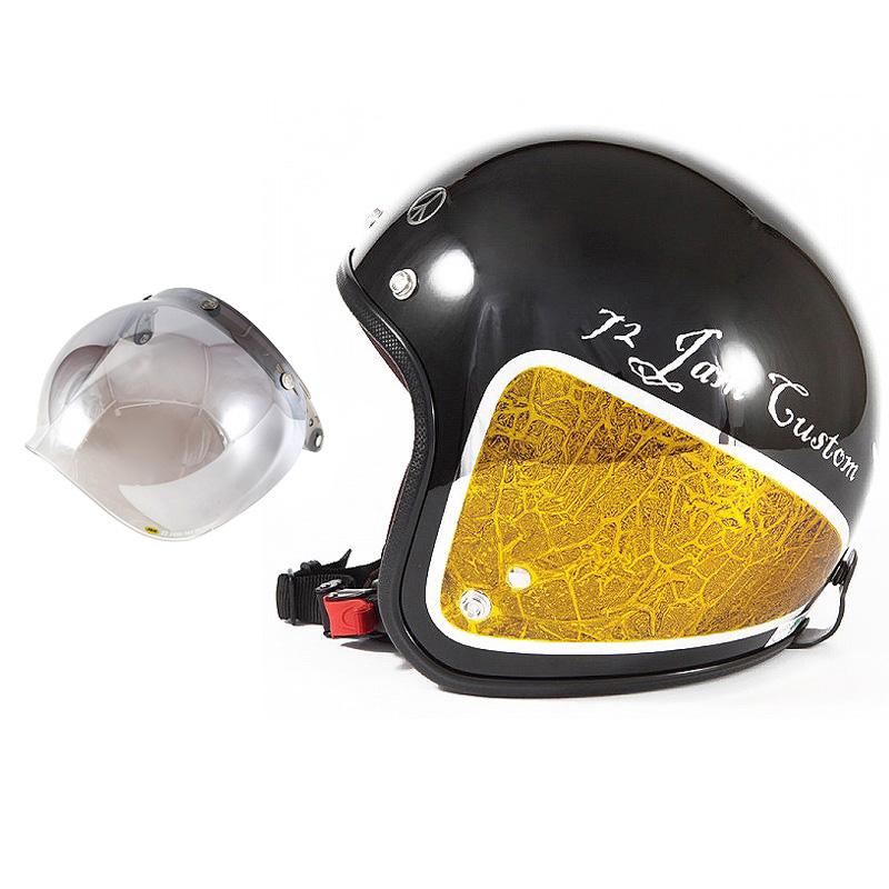 72JAM デザイナーズジェットヘルメット [JCP-34] 開閉シールド付き [JCBN-03]WEED ウィード イエロー [ブラックベース/イエローラップグロス仕上げ]FREEサイズ(57-60cm未満) メンズ レディース 兼用品 SG規格 全排気量対応