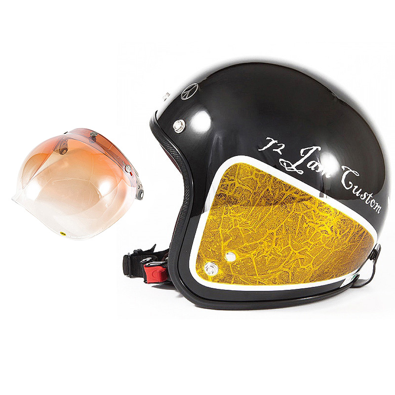 72JAM デザイナーズジェットヘルメット [JCP-34] 開閉シールド付き [JCBN-04]WEED ウィード イエロー [ブラックベース/イエローラップグロス仕上げ]FREEサイズ(57-60cm未満) メンズ レディース 兼用品 SG規格 全排気量対応