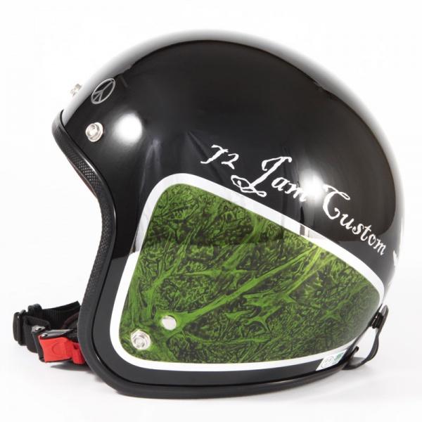 ジャムテックジャパン 72JAM JCP-36WEED ウィード グリーン ジェットヘルメット [ブラックベース/グリーンラップグロス仕上げ]FREEサイズ(57-60cm未満) メンズ レディース 兼用品 SG規格 全排気量対応