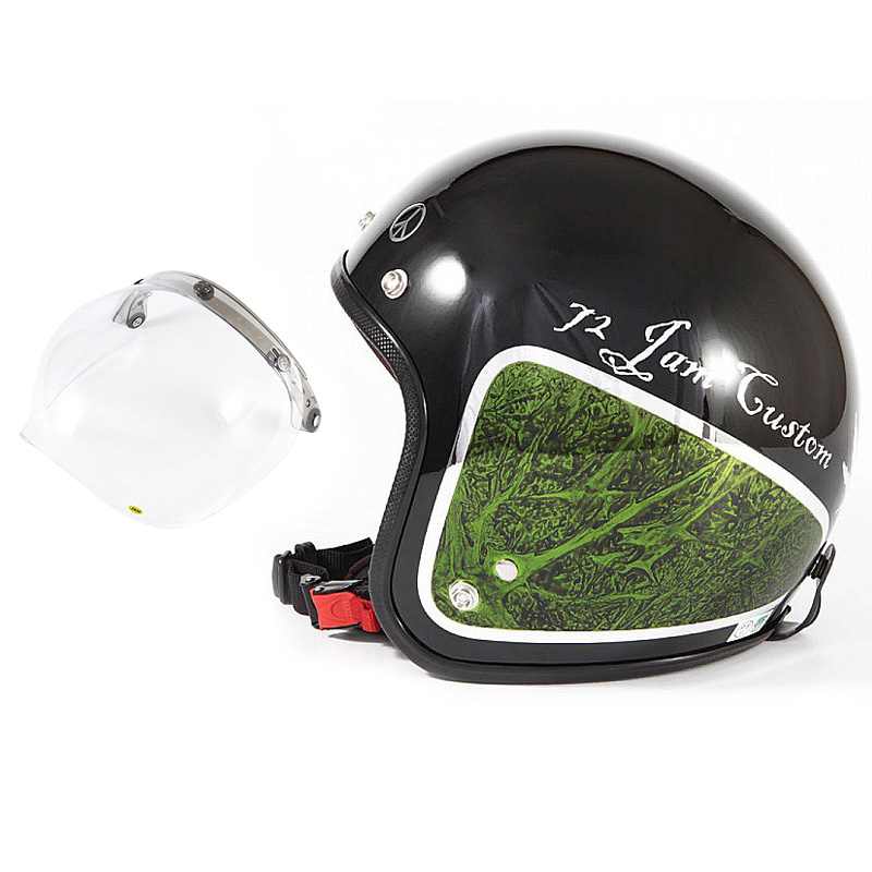 72JAM デザイナーズジェットヘルメット [JCP-36] 開閉シールド付き [JCBN-01]WEED ウィード グリーン [ブラックベース/グリーンラップグロス仕上げ]FREEサイズ(57-60cm未満) メンズ レディース 兼用品 SG規格 全排気量対応