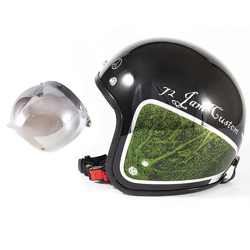 72JAM デザイナーズジェットヘルメット [JCP-36] 開閉シールド付き [JCBN-03]WEED ウィード グリーン [ブラックベース/グリーンラップグロス仕上げ]FREEサイズ(57-60cm未満) メンズ レディース 兼用品 SG規格 全排気量対応