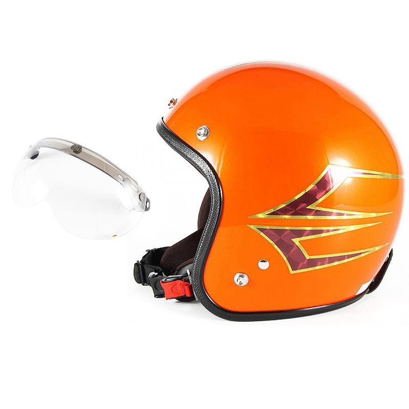 72JAM デザイナーズジェットヘルメット [JCP-37] 開閉シールド付き [APS-01]Spindle スピンドル サンセットオレンジ [サンセットオレンジベースグロス仕上げ]FREEサイズ(57-60cm未満) メンズ レディース 兼用品 SG規格 全排気量対応
