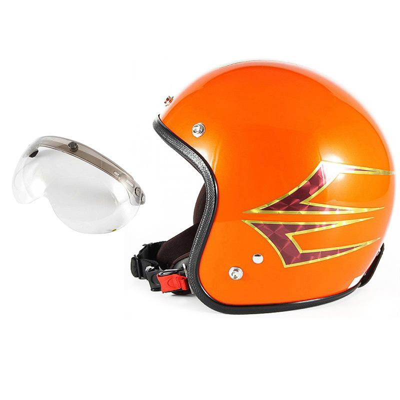 72JAM デザイナーズジェットヘルメット [JCP-37] 開閉シールド付き [APS-03]Spindle スピンドル サンセットオレンジ [サンセットオレンジベースグロス仕上げ]FREEサイズ(57-60cm未満) メンズ レディース 兼用品 SG規格 全排気量対応