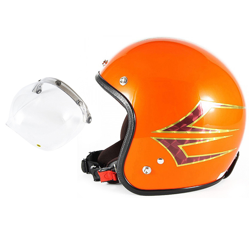 72JAM デザイナーズジェットヘルメット [JCP-37] 開閉シールド付き [JCBN-01]Spindle スピンドル サンセットオレンジ [サンセットオレンジベースグロス仕上げ]FREEサイズ(57-60cm未満) メンズ レディース 兼用品 SG規格 全排気量対応