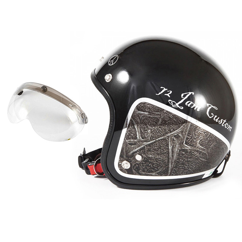 72JAM デザイナーズジェットヘルメット [JCP-40] 開閉シールド付き [APS-03]WEED ウィード ブラック [ブラックベース/ブラックラップグロス仕上げ]FREEサイズ(57-60cm未満) メンズ レディース 兼用品 SG規格 全排気量対応