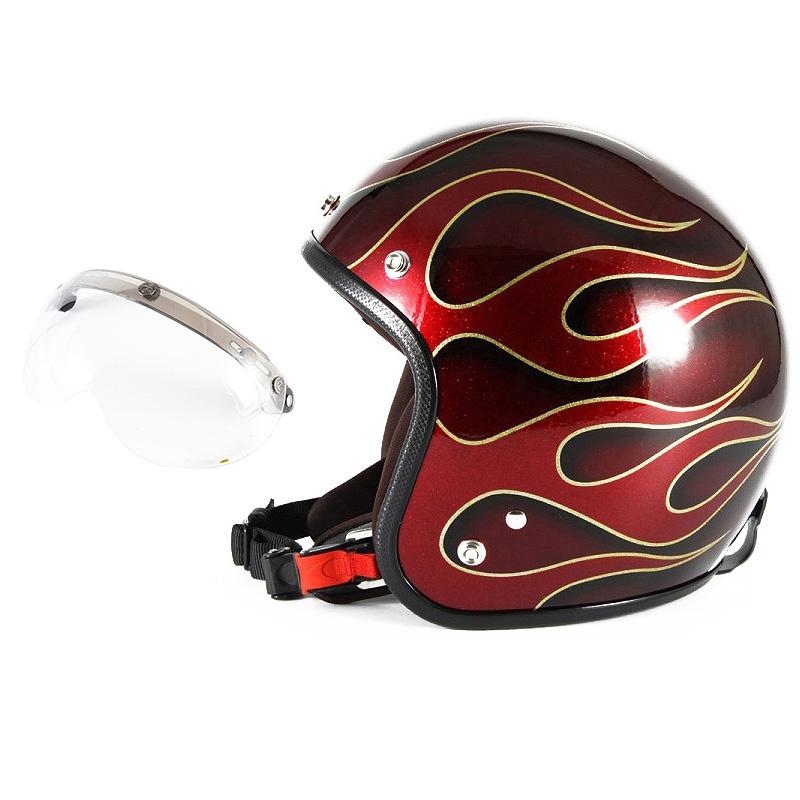 72JAM デザイナーズジェットヘルメット [JCP-41] 開閉シールド付き [APS-01]FLAMES フレイムス レッド [レッドフレークベースグロス仕上げ]FREEサイズ(57-60cm未満) メンズ レディース 兼用品 SG規格 全排気量対応