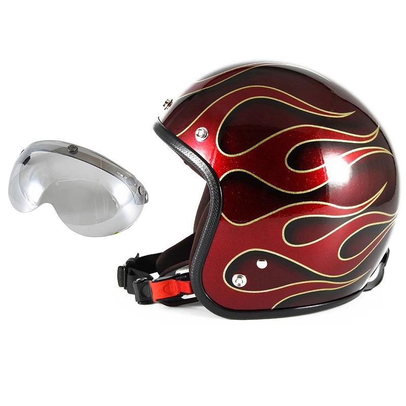 72JAM デザイナーズジェットヘルメット [JCP-41] 開閉シールド付き [APS-04]FLAMES フレイムス レッド [レッドフレークベースグロス仕上げ]FREEサイズ(57-60cm未満) メンズ レディース 兼用品 SG規格 全排気量対応
