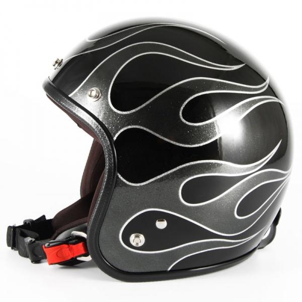 ジャムテックジャパン 72JAM JCP-42FLAMES フレイムス ブラック ジェットヘルメット [ブラックフレークベースグロス仕上げ]FREEサイズ(57-60cm未満) メンズ レディース 兼用品 SG規格 全排気量対応