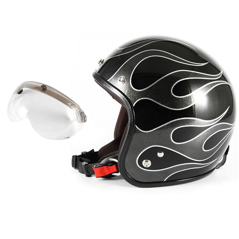 72JAM デザイナーズジェットヘルメット [JCP-42] 開閉シールド付き [APS-03]FLAMES フレイムス ブラック [ブラックフレークベースグロス仕上げ]FREEサイズ(57-60cm未満) メンズ レディース 兼用品 SG規格 全排気量対応