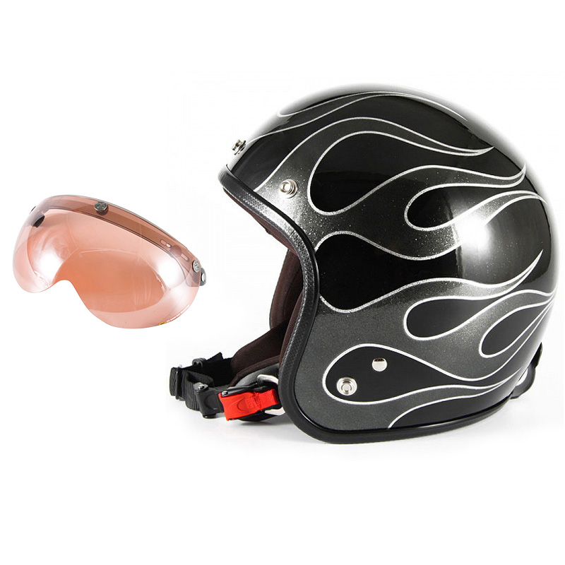 72JAM デザイナーズジェットヘルメット [JCP-42] 開閉シールド付き [APS-05]FLAMES フレイムス ブラック [ブラックフレークベースグロス仕上げ]FREEサイズ(57-60cm未満) メンズ レディース 兼用品 SG規格 全排気量対応
