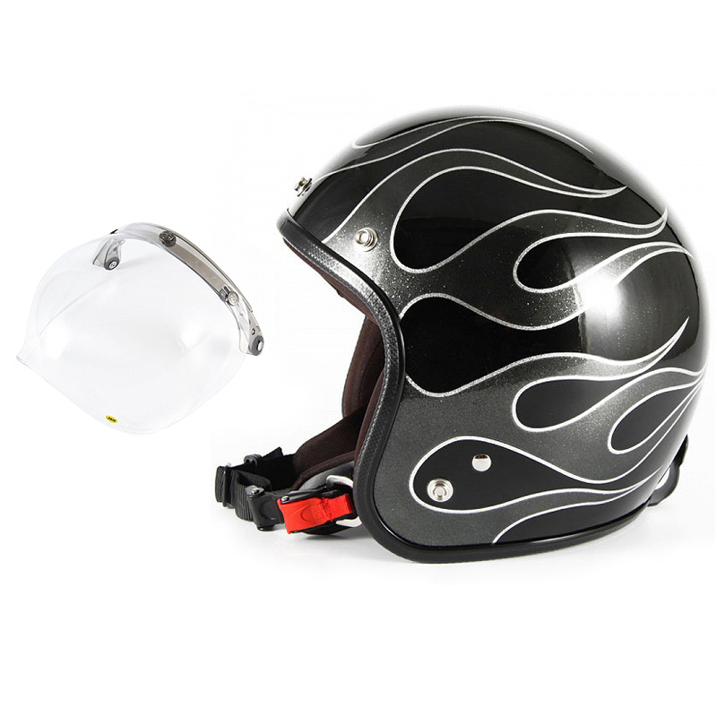 72JAM デザイナーズジェットヘルメット [JCP-42] 開閉シールド付き [JCBN-01]FLAMES フレイムス ブラック [ブラックフレークベースグロス仕上げ]FREEサイズ(57-60cm未満) メンズ レディース 兼用品 SG規格 全排気量対応